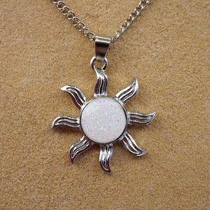 Jewelry - White Iridescent Glitter Sun Boho Hippie Necklace